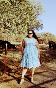 On our ranch in a turquoise gingham Colette Hawthorn