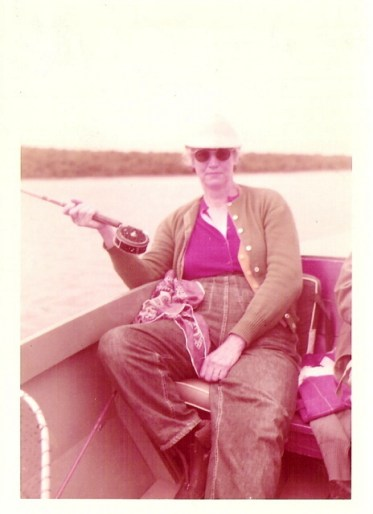 My great grandma fishing in New Hampshire