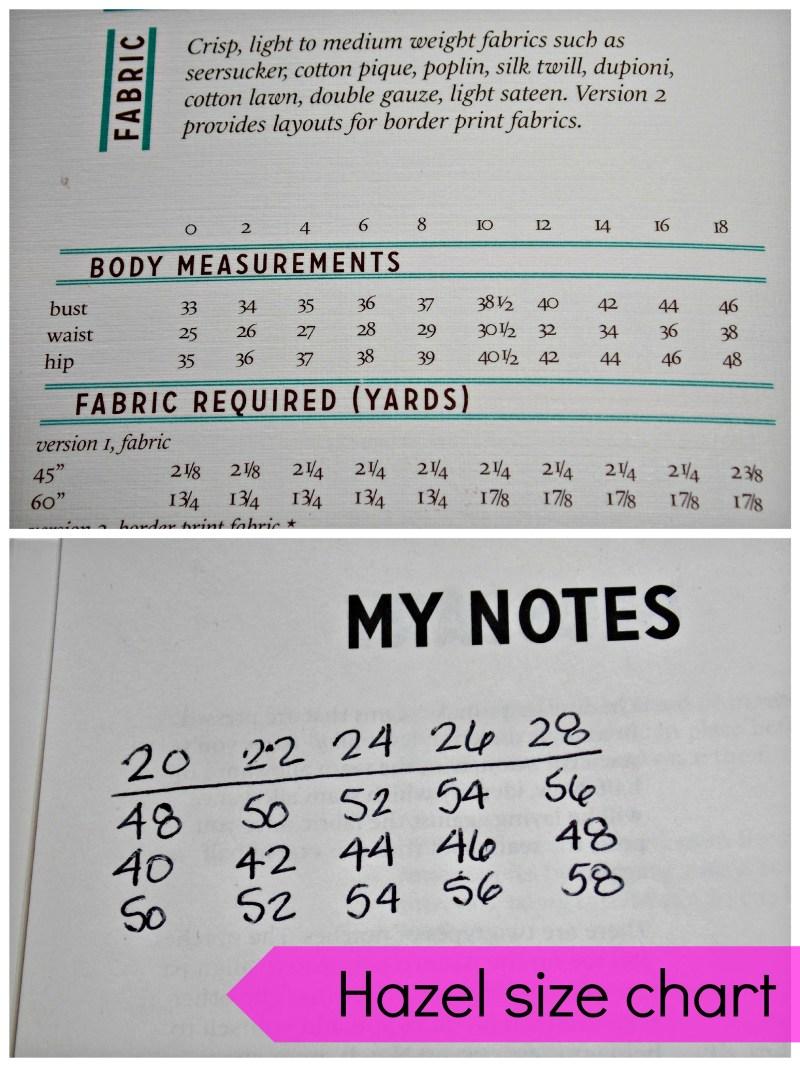 hazel sizing chart