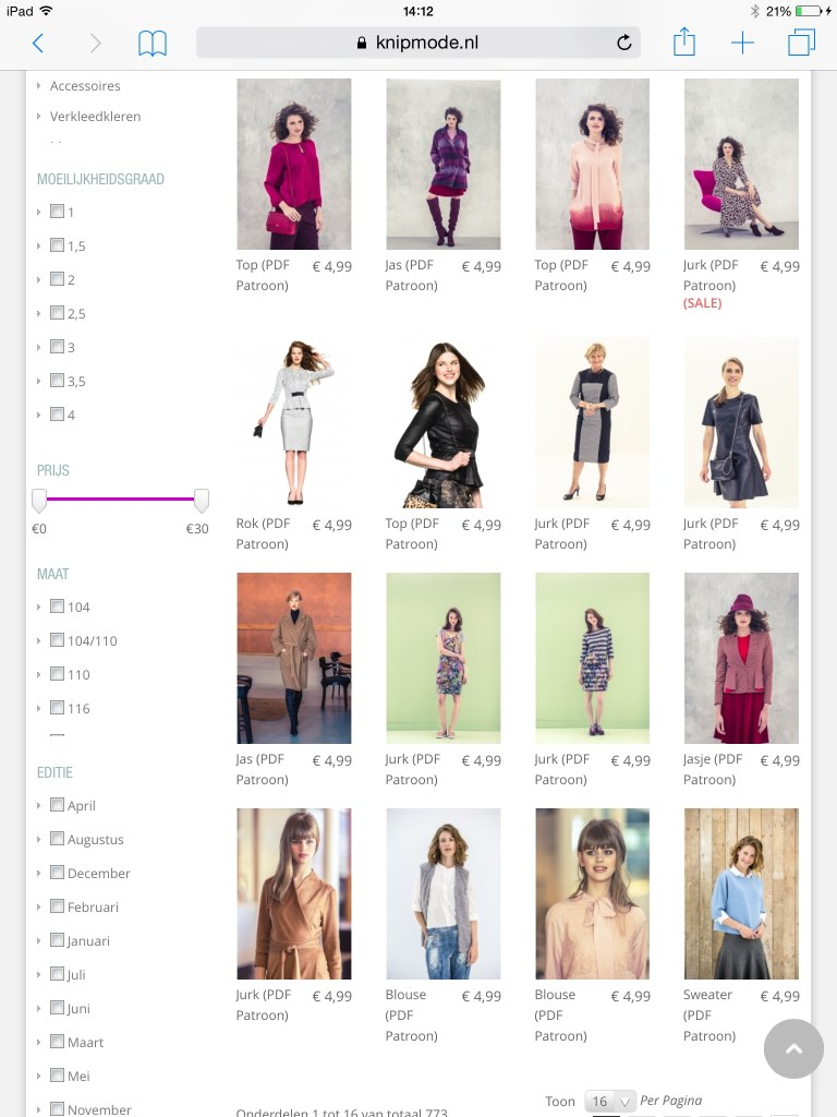 Knipmode pattern shop