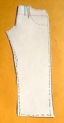Draw a vertical line from the waist seam to the horizontal line where your tummy is at its fullest.