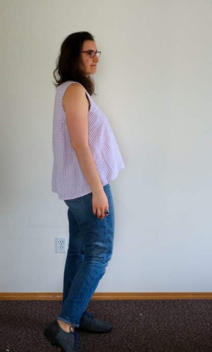 Modeling the side view of the collins top to show the hi-low hem.