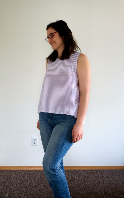 Modeling a tank top to show fit from the side