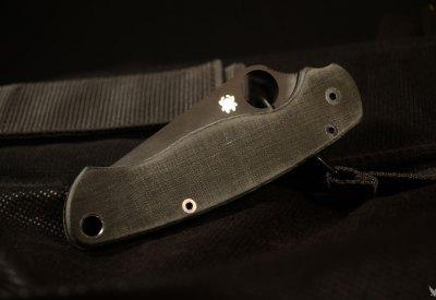 "Spyderco Para-Military 2 custom scales ""allblack"""