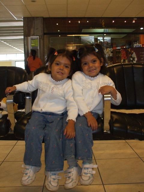 Girls waiting in the airport