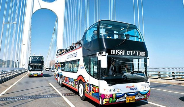 city bus, busan, korea,