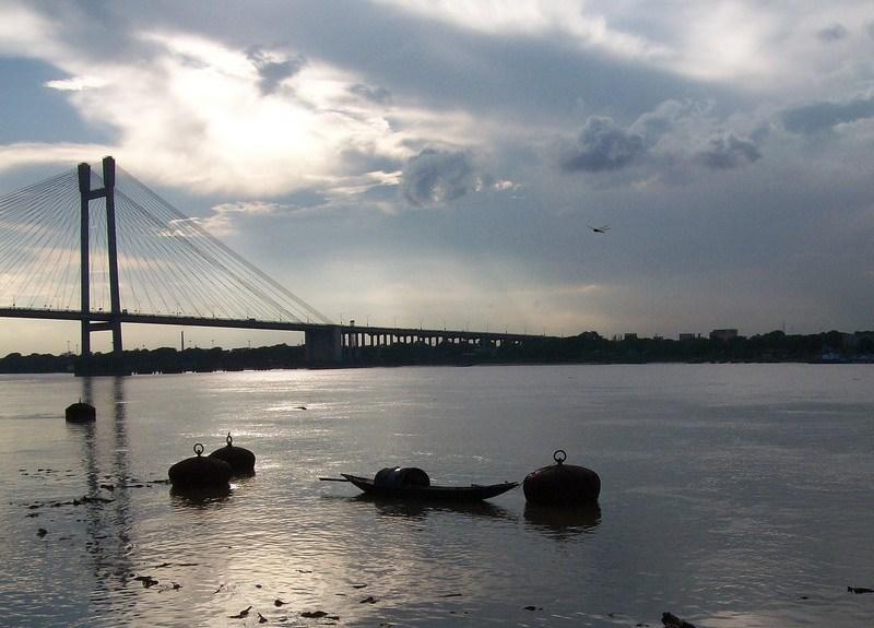 outram ghat, calcutta, india, hoogly bridge