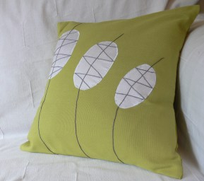 bullrush - appliqued shapes with hand embroidery