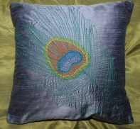 peacock - hand and machine embroidery on pure silk