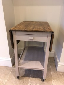 Drop leaf table with sanded and waxed top and base painted in Paloma