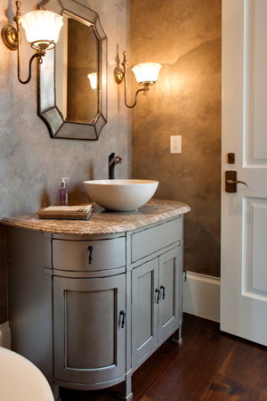 Custom Bathroom Cabinets and bowl sink