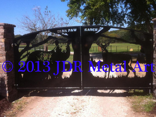 Driveway Gate Bear Deer Bear Paw Ranch Missouri plasma cut by JDR Metal Art