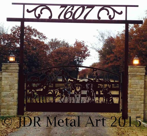 Ornamental driveway security gates custom made for Oklahoma City road entrance.
