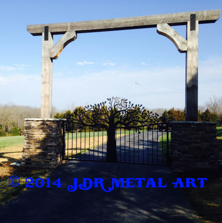 St Louis Driveway Gates Oak Tree by JDR Metal Art