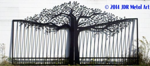 Tree driveway gates designs plasma cut by jdr metal art for Ready made driveway gates