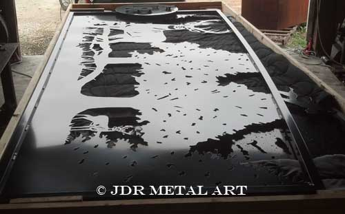 Texas Aluminum Gates with Deer Scene by JDR Metal Art