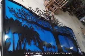 Aluminum decorative driveway gates for Miami, Florida property entrance.