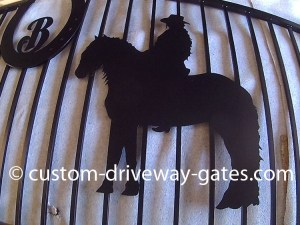 Friesian silhouette cut from metal for driveway gate design by JDR Metal Art.