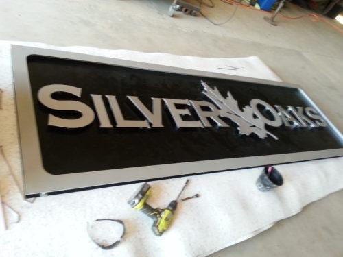 Aluminum sign with plasma cut letters.