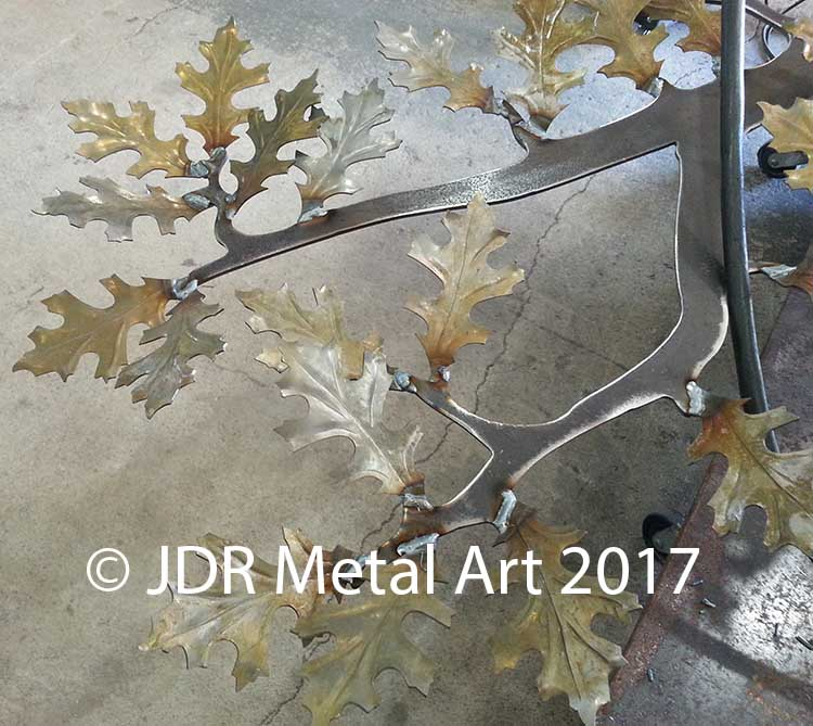 Steel oak tree with pin oak leaves.