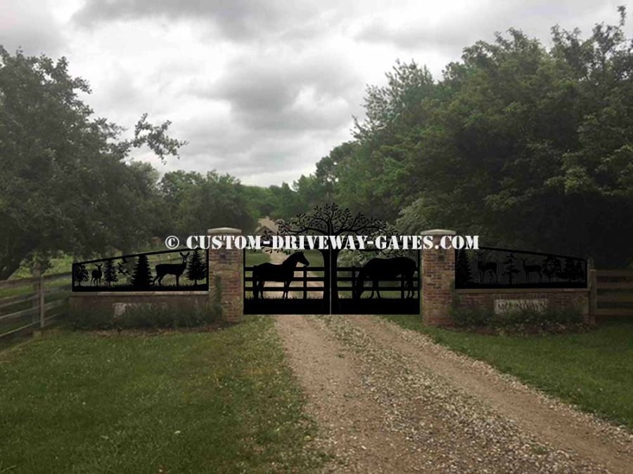Driveway gates in Indianapolis, Indiana with custom wildlife scene and grazing horses. plasma cut by JDR Metal Art in summer of 2018.