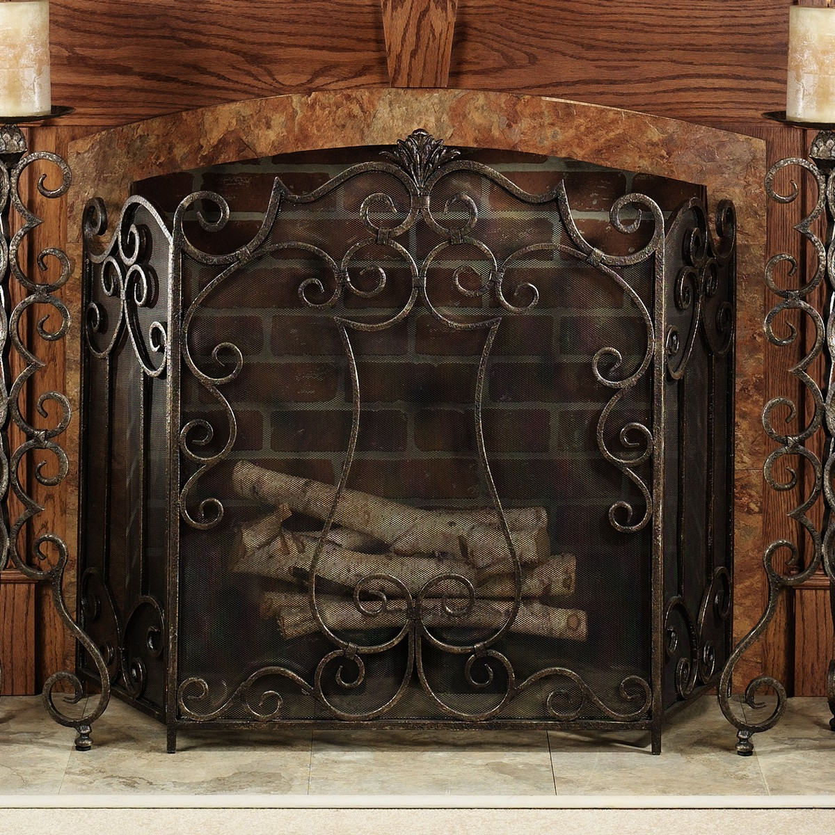 Stained Glass Fireplace Screen On Custom Fireplace