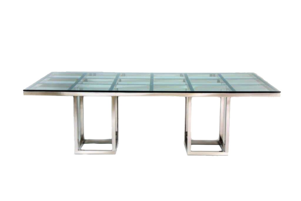 Hollywood Squares Polish Stainless Steel Table