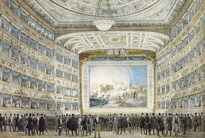 Interior of La Fenice in 1837 Original at Museo Correr