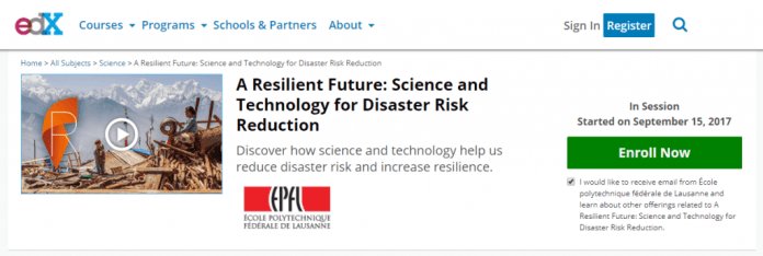 A resilient future science and technology for disaster risk reduction edx website screenshot