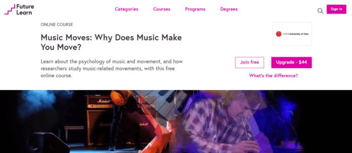 Music moves online course website screenshot