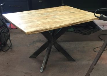 "2017 - 'I'm just waitin' on a table' - 36""x48""x30"" - hemlock-steel-acrylic"