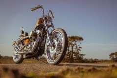 Radnabe und vordere Bremssättel stammen wie die Gabelholme aus Harleys Ironhead