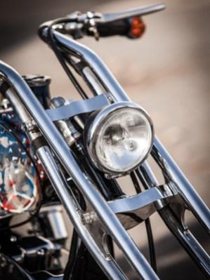 Die Gabel als zentraler Punkt des Motorrades: Sie stammt von John Harman, dem legendären Chopperpionier