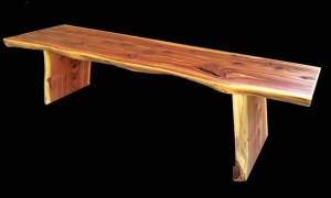 natural edge wood Red Cedar bench Evan Wittels Raleigh NC