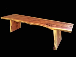 natural edge Red Cedar wood bench Evan Wittels