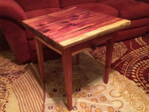 Red Cedar wood end table Evan Wittels