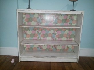 Decoupage custom painted and distressed bookcase