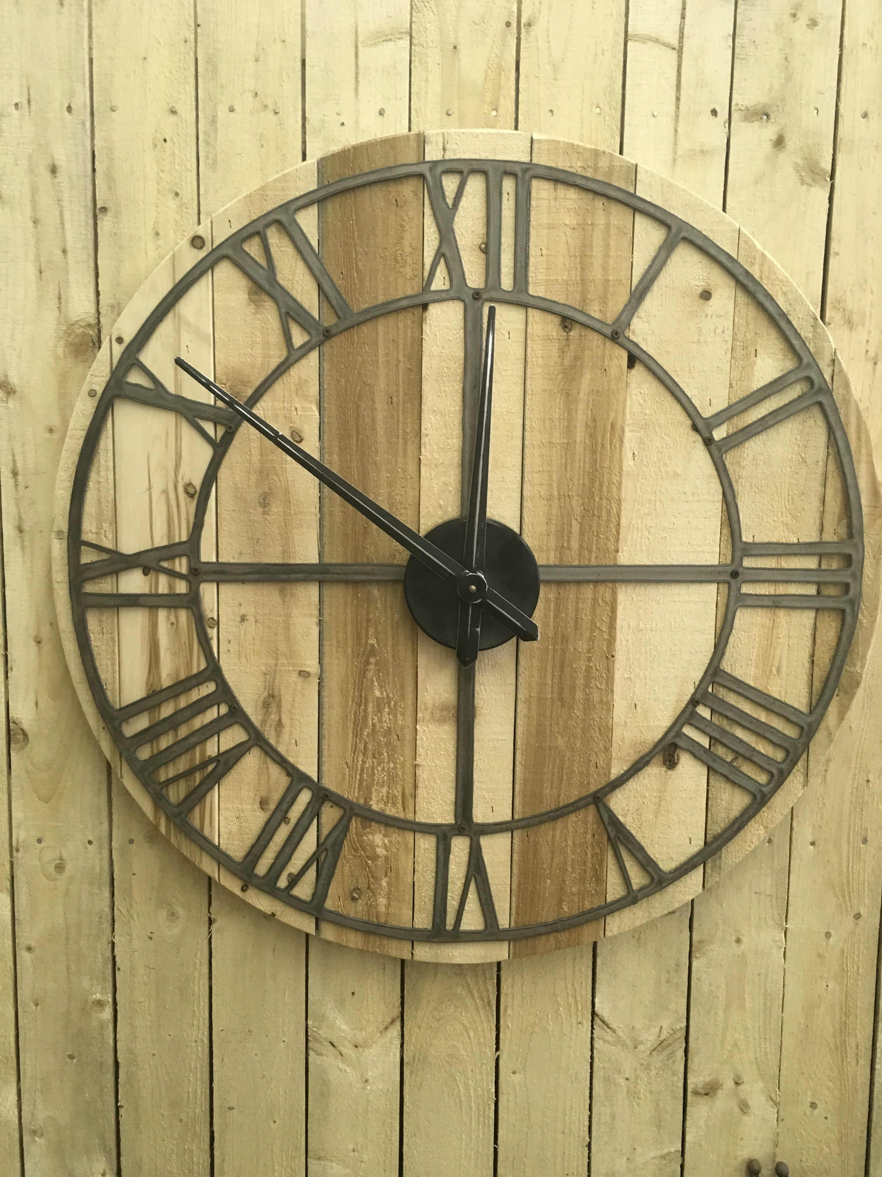 Large Rustic Wood Clock Roman Numeral With Movement