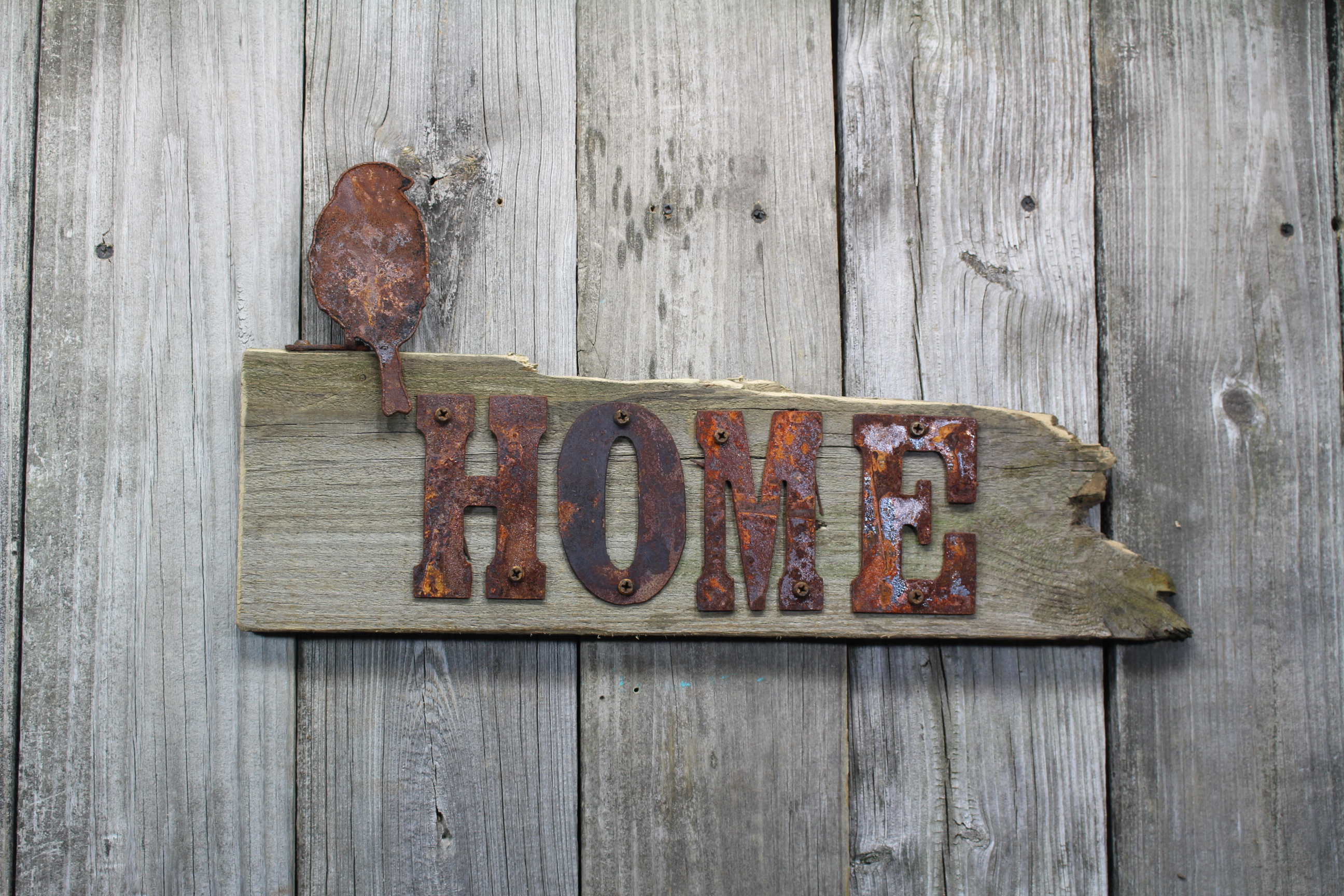 HOME sign with bird - Rustic Metal Letters & Wall Art on Home Wall Decor Signs id=53346