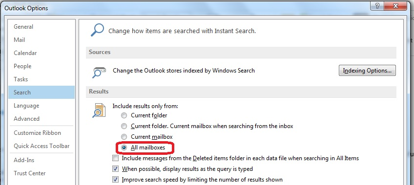Changing Where Outlook Searches Emails By Default