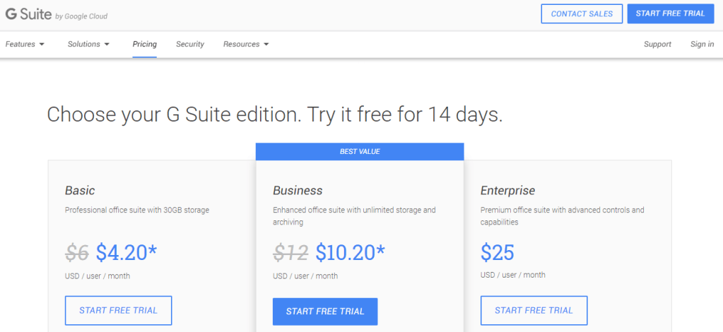 Gsuite package plans shows a good upsell strategy