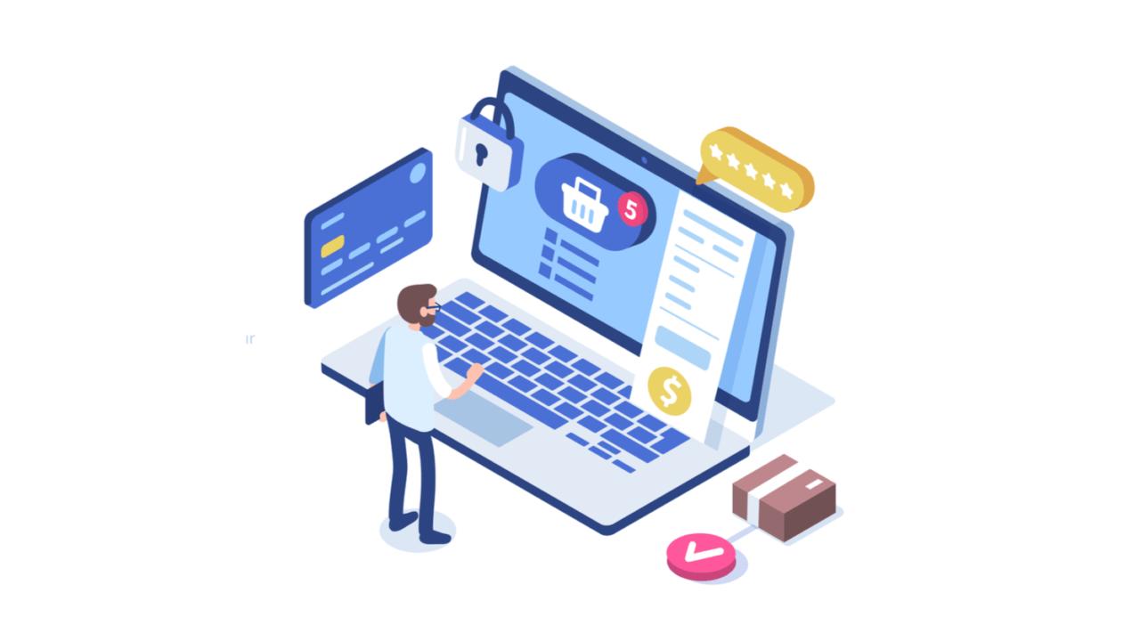 Illustration of making doing ecommerce checkout