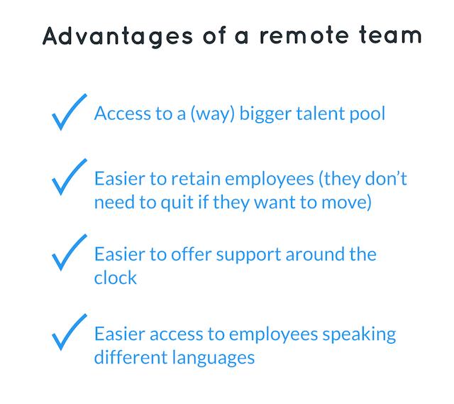 advantages of remote customer service team