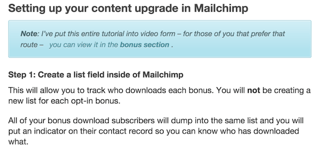 example of a content upgrade popup