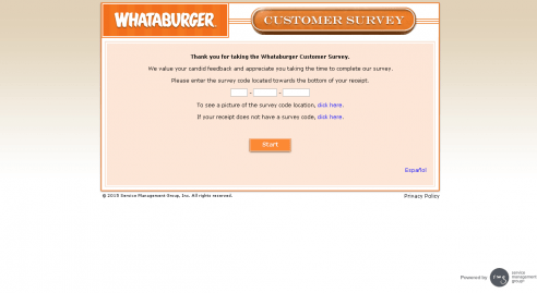 whataburgersurvey page screenshot