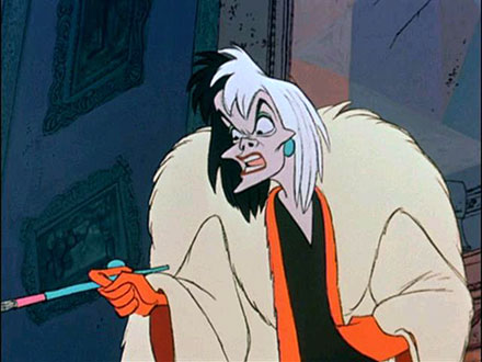 Cruela De Vil from Disney's 101 Dalmation's – Best Animated Horror Cartoon Characters