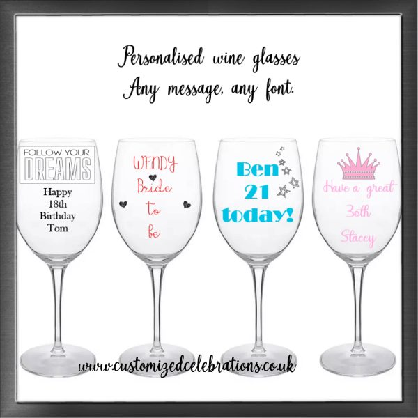 personalised 18, 21, birthday, any message wine glass