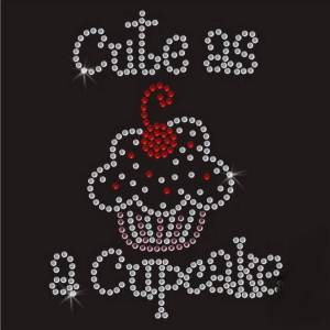 cute as a cupcake rhinestone transfer