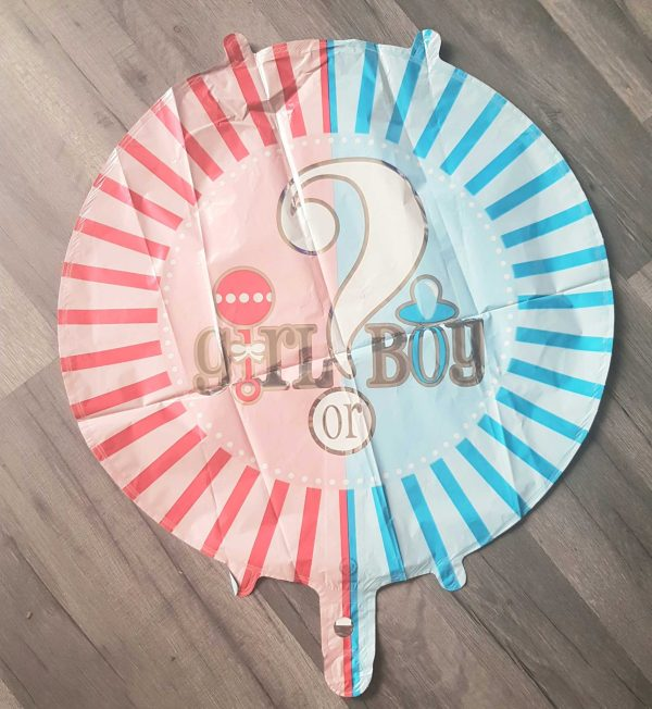 boy or girl round foil balloon 18""