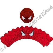 spiderman cupcake wraps and toppers set